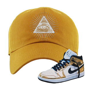 Air Jordan 1 Mid SE Metallic Gold Dad Hat | All Seeing Eye, Wheat