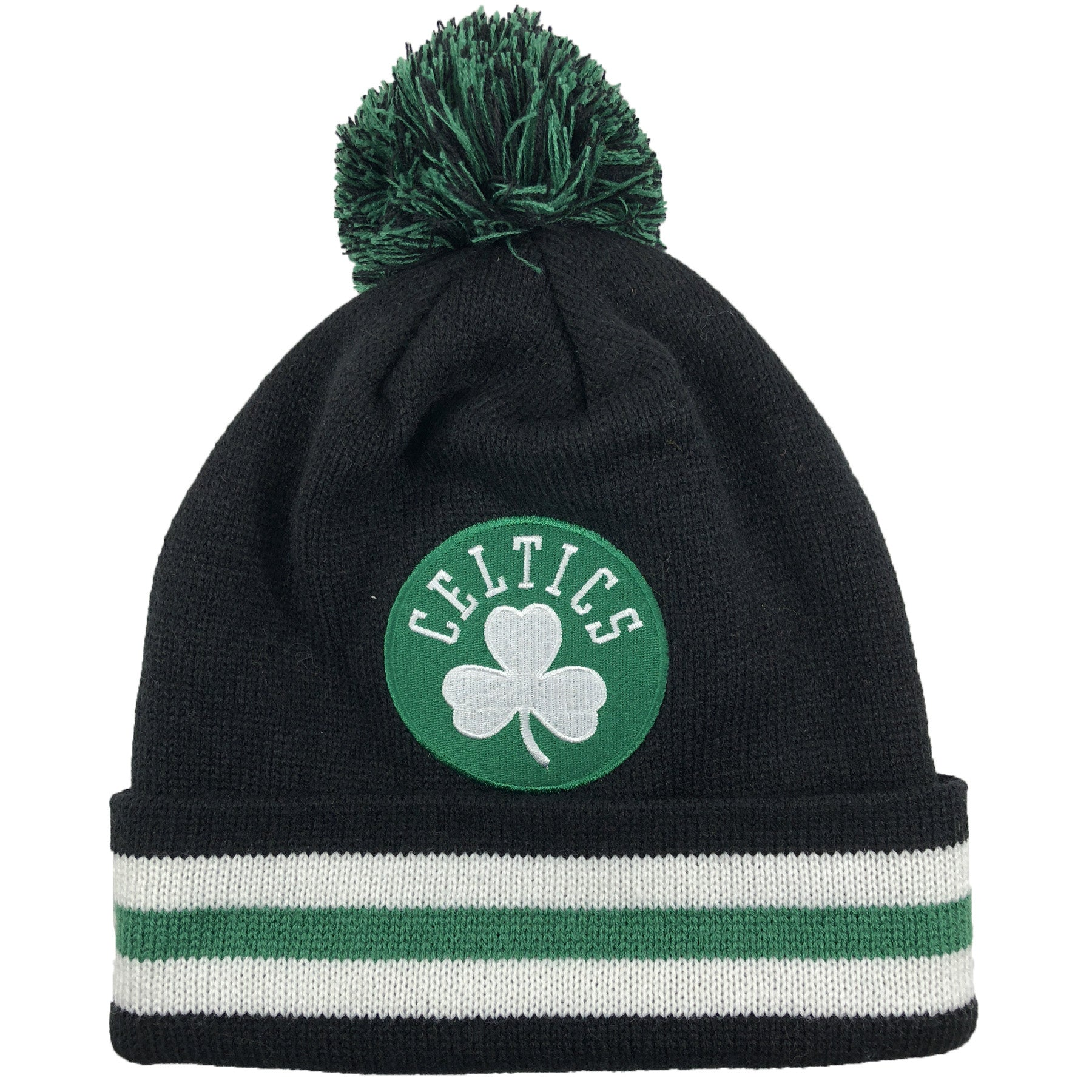 4dbfa946 Boston Celtics Black Striped Cuff Knit Pom Beanie