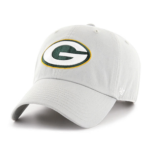 embroidered on the front of the green bay packers gray dad hat is the green bay packers logo embroidered in white, green, and yellow