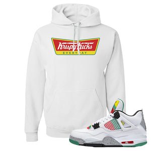 Jordan 4 WMNS Carnival Sneaker White Pullover Hoodie | Hoodie to match Do The Right Thing 4s | Krispy Kicks