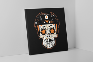 Broad Street Bullies Skull Canvas | Broad Street Bullies Candy Skull Black Wall Canvas the front of this canvas has the bullies skull logo