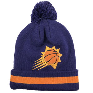 Embroidered on the front of the pheonix suns winter beanie is the pheonix suns logo embroidered in orange and black