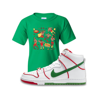 Paul Rodriguez's Nike SB Dunk High Sneaker Green Kid's T-Shirt | Kid's Tee to match Paul Rodriguez's Nike SB Dunk High Shoes | Luchadors