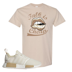 NMD R1 Chalk White Sneaker Sand T Shirt | Tees to match Adidas NMD R1 Chalk White Shoes | Talk is Cheap