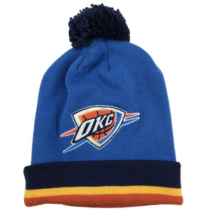 embroidered on the front of the oklahoma city thunder mitchell and ness winter beanie is the okc thunder logo in orange, white, and blue