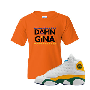 Damn Gina Safety Orange Kid's T-Shirt to match Air Jordan 13 GS Playground Kids Sneakers