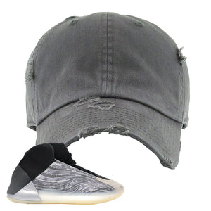 Yeezy Quantum Distressed Dad Hat | Dark Gray, BLANK