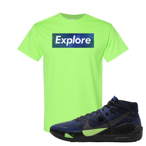 KD 13 Planet of Hoops T Shirt | Explore Box Logo, Neon Green