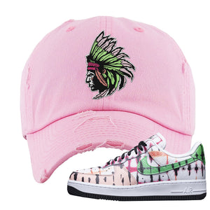Air Force 1 Low Multi-Colored Tie-Dye Distressed Dad Hat | Light Pink, Indian Chief