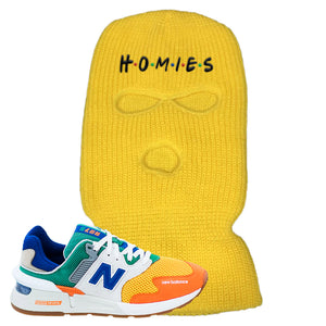 997S Multicolor Sneaker Yellow Ski Mask | Winter Mask to match New Balance 997S Multicolor Shoes | Homies