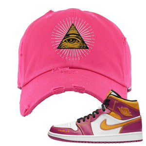 Air Jordan 1 Mid Familia Distressed Dad Hat | All Seeing Eye, Hot Pink