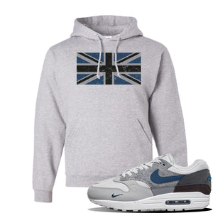 Air Max 1 'London City Pack' Sneaker Ash Pullover Hoodie | Hoodie to match Nike Air Max 1 'London City Pack' Shoes | Union Jack Flag