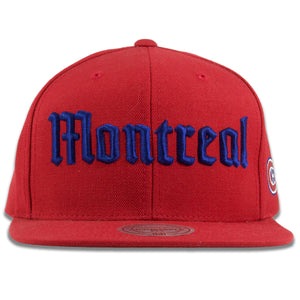 Montreal Canadiens Old English Font Red Mitchell and Ness Snapback Hat