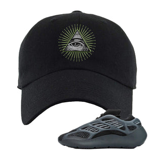 Yeezy Boost 700 V3 Alvah Sneaker Black Dad Hat | Hat match Adidas Yeezy Boost 700 V3 Alvah Shoes | All Seeing Eye
