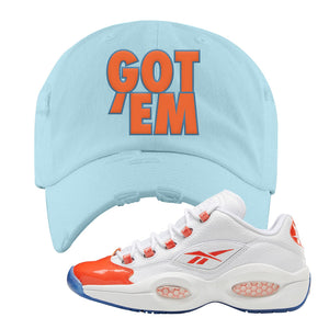 Question Low Vivid Orange Distressed Dad Hat | Got Em, Blue