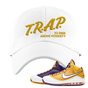 Lebron 7 'Media Day' Dad Hat | White, Trap To Rise Above Poverty