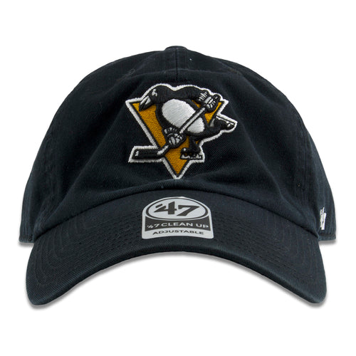 1df0eecfde1a2 Embroidered on the front of the Pittsburgh Penguins black baseball cap is  the Penguins logo