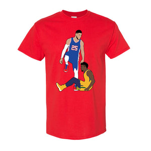 Simmons Step Over Tee Shirt | Ben Simmons Step Over Red T-Shirt the front of this shirt has the simmons stepover design