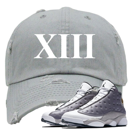 Jordan 13 Atmosphere Grey XIII Light Gray Distressed Dad Hat