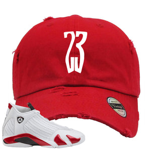 Jordan 14 Rip Hamilton 23 Red Distressed Dad Hat