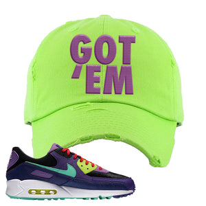 Air Max 90 Cheetah Distressed Dad Hat | Got Em, Neon Green