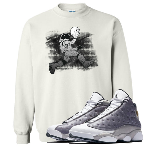 Jordan 13 Atmosphere Grey Astronaut Jump White Crewneck