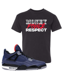 Jordan 4 WNTR Loyal Blue Money, Power, Respect Black Sneaker Hook Up Kid's T-Shirt
