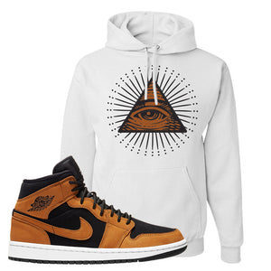 Air Jordan 1 Mid Wheat Hoodie | All Seeing Eye, White