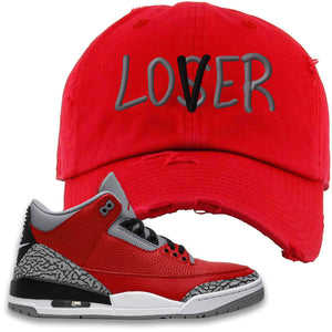Jordan 3 Red Cement Distressed Dad Hat | Red, Lover