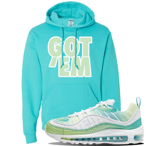 WMNS Air Max 98 Bubble Pack Sneaker Scuba Blue Pullover Hoodie | Hoodie to match Nike WMNS Air Max 98 Bubble Pack Shoes | Got Em