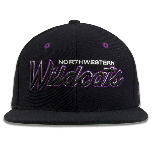 Northwestern University Wildcats Black Snapback Hat