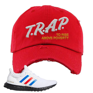 Ultra Boost White Red Blue Distressed Dad Hat | Red, Trap To Rise Above Poverty