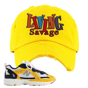827 Abzorb Multicolor Yellow Aime Leon Dore Sneaker Gold Distressed Dad Hat | Hat to match 827 Abzorb Multicolor Yellow Aime Leon Dore Shoes | Living Savage