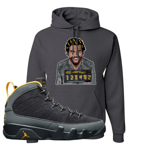 Air Jordan 9 Charcoal University Gold Hoodie | Escobar Illustration, Smoke Grey