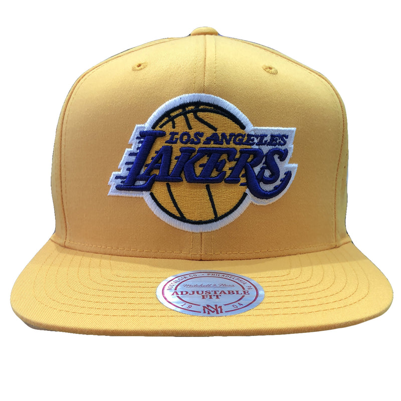 Embroidered on the front of the Los Angeles Lakers snapback hat is the Lakers logo in yellow, purple, and white