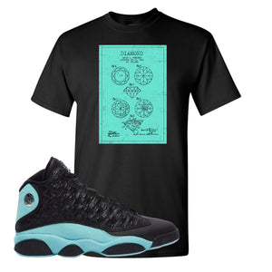 Diamond Patent Black T-Shirt To Match Jordan 13 Island Green Sneakers