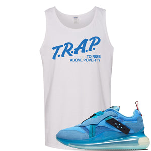 Air Max 720 OBJ Slip Light Blue Tank Top | White, Trap To Rise Above Poverty