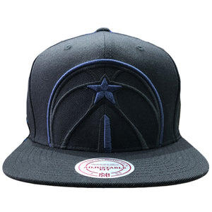 Embroidered on the front of the Washington Wizards black snapback hat is the Wizards logo in blue
