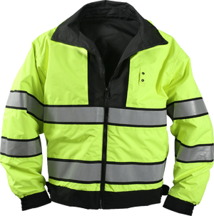 the Police | Reversible Reflective Customizable Rain Coat | Black and Safety Green ANSI Certified Scotchlite Rain Jacket  has a black collar and silver grey gray stripes