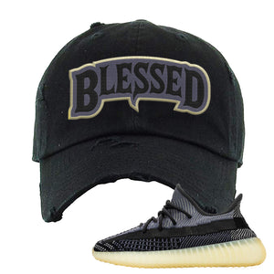 Yeezy Boost 350 V2 Asriel Carbon Distressed Dad Hat | Blessed Arch, Black