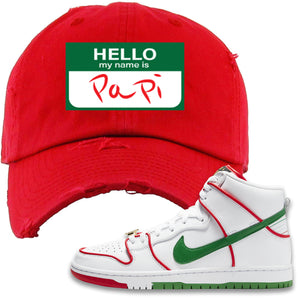 Paul Rodriguez's Nike SB Dunk High Sneaker Red Distressed Dad Hat | Distressed Dad Hat to match Paul Rodriguez's Nike SB Dunk High Shoes | Hello My Name Is Papi