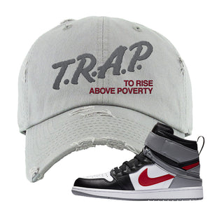 Air Jordan 1 Flyease Distressed Dad Hat | Light Gray, Trap To Rise Above Poverty