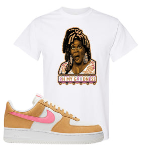 Nike Air Force 1 Pink Orange T-Shirt | Oh My Goodness, White