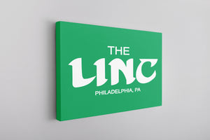 The Linc Birds Lettering Canvas | The Linc Birds Lettering Kelly Green Wall Canvas the front of this canvas has the stadiums name in retro birds font