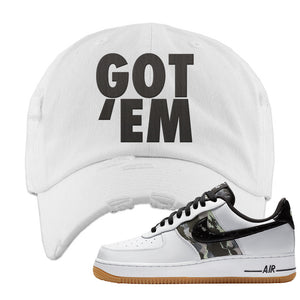 Air Force 1 Low Camo Distressed Dad Hat | Got Em, White