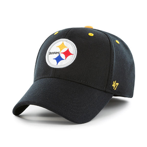 Embroidered on the front of the one size fits all Pittsburgh Steelers stretch fit cap is the Pittsburgh Steelers logo in white, black, red, yellow, and blue