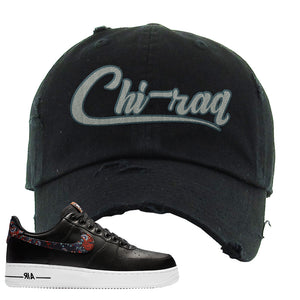 Air Force 1 Low Black Floral Distressed Dad Hat | Chiraq, Black