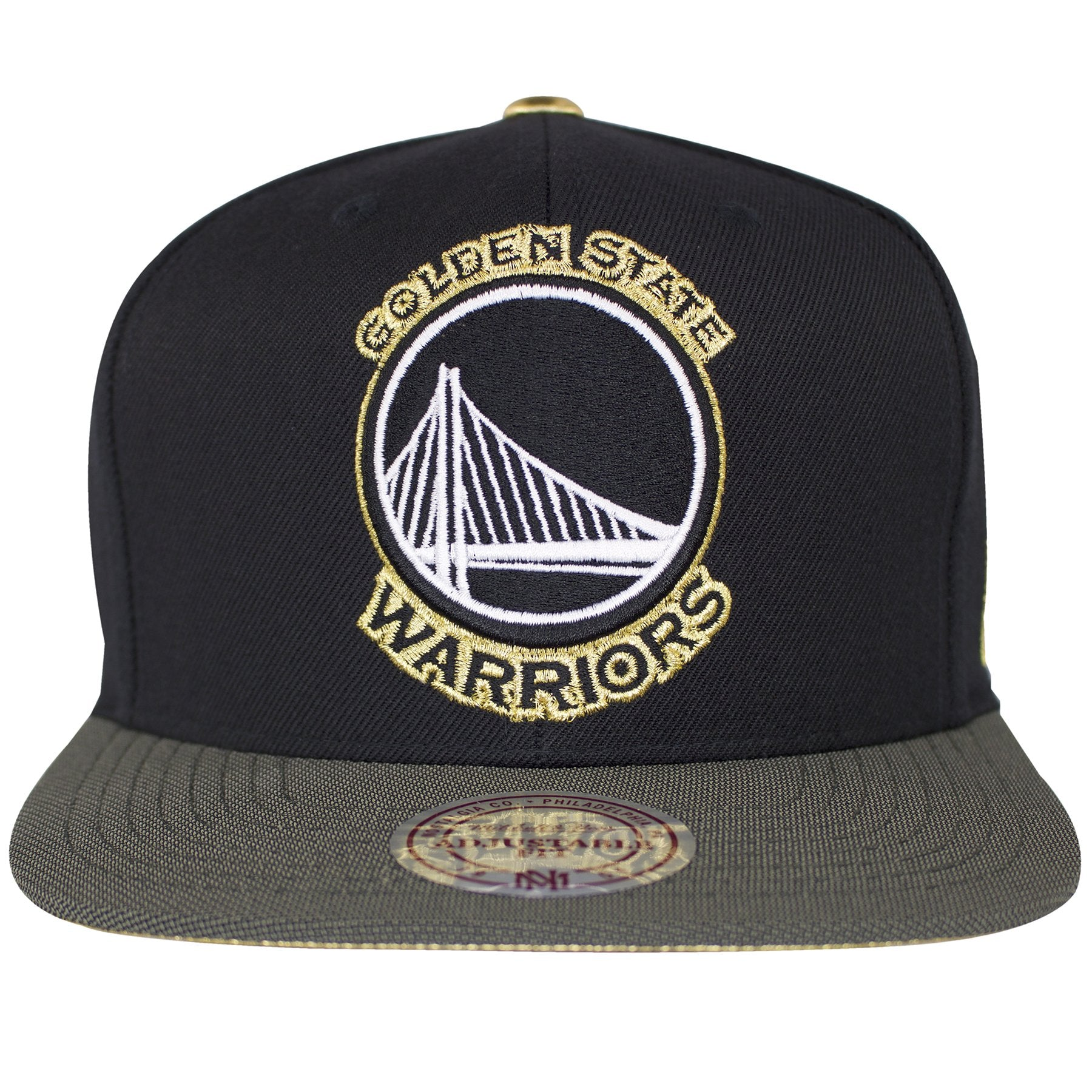 The Golden State Warriors Logo is embroidered on the front in white and  black with gold a92c53d4a