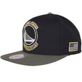 The American flag is embroidered in black and white on the left of this Golden State Warriors black snapback hat.