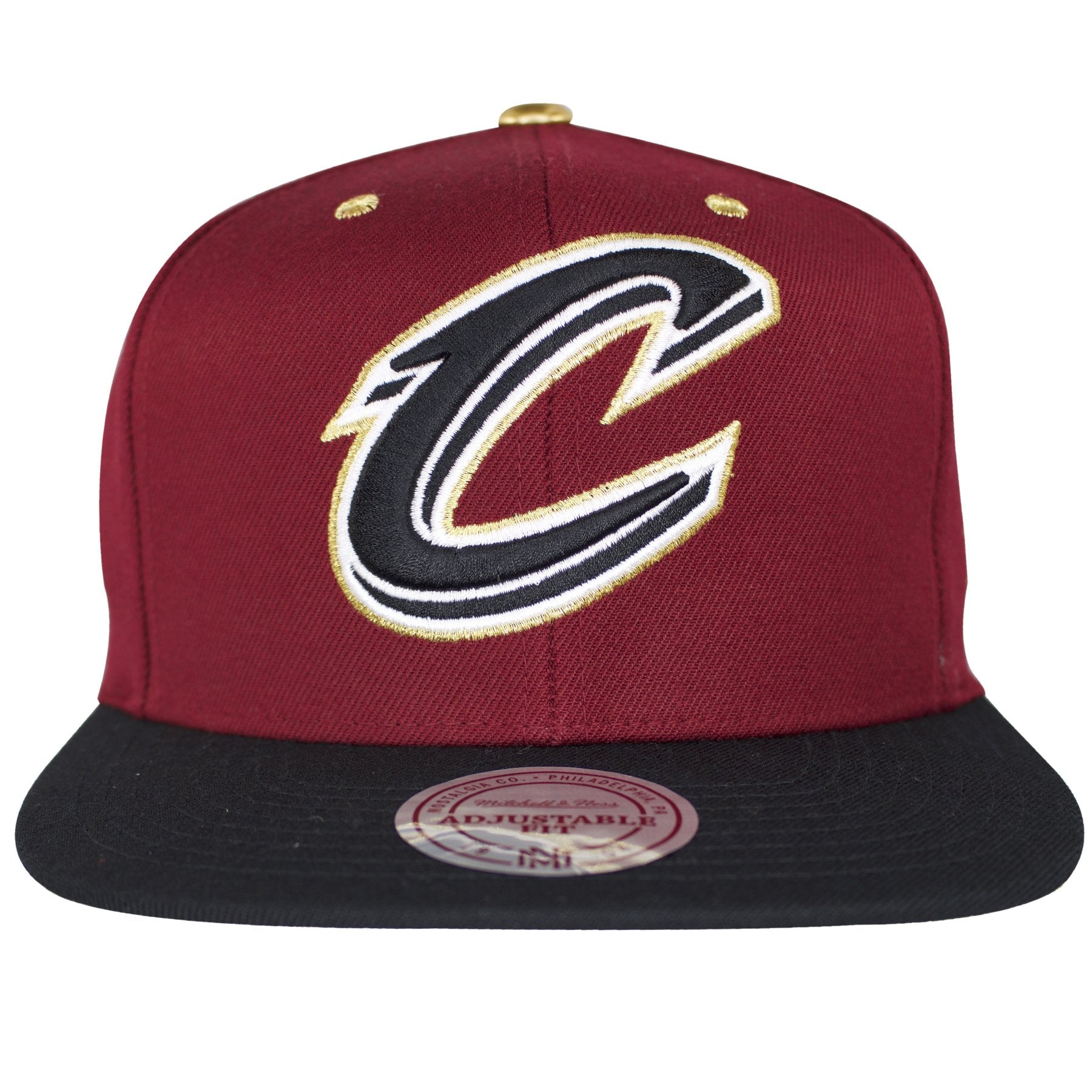 f1cc053bb43e5 This Cleveland Cavaliers snapback hat is a maroon cap with black bill. The  Cavaliers logo